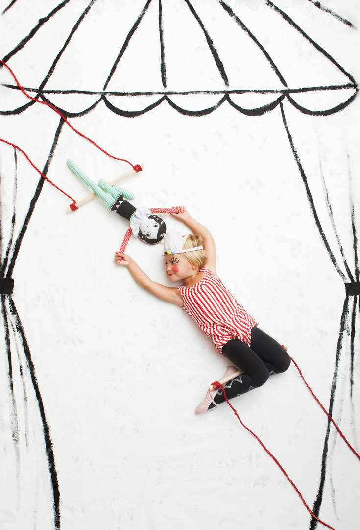 Trapeze doll for Mer Mag's book PLAYFUL - out fall 2014. Photo by Nicole Gerulat