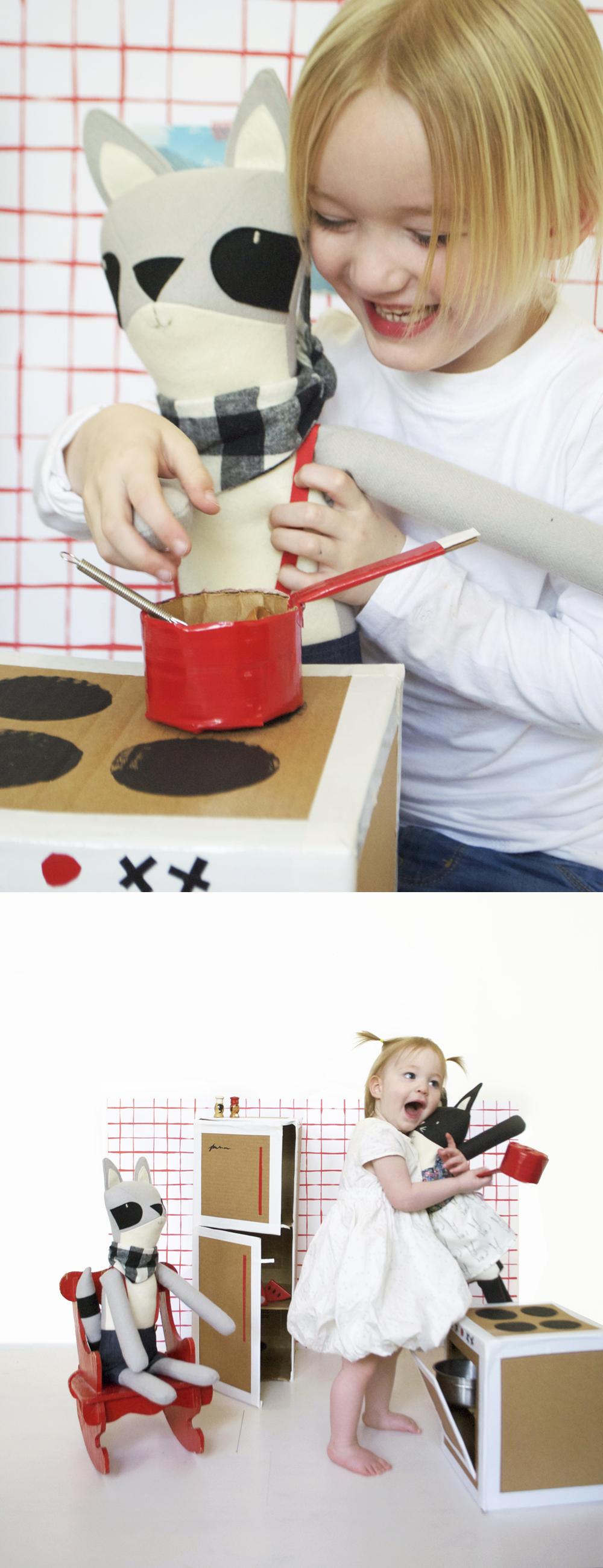 DIY Play Kitchen with Walnut Animal Society Friends