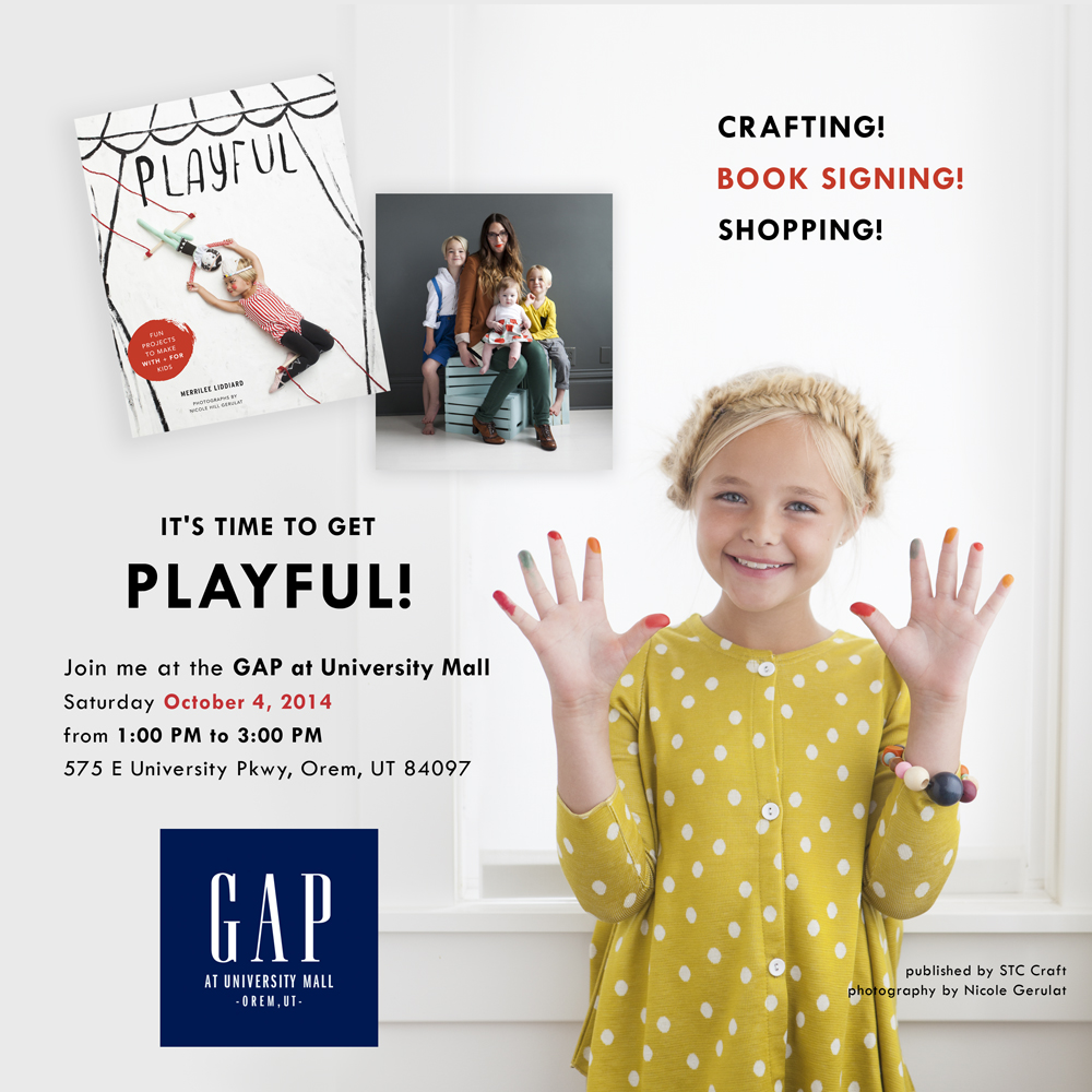 Merrilee Liddiard's GAP signing invite for her book Playful