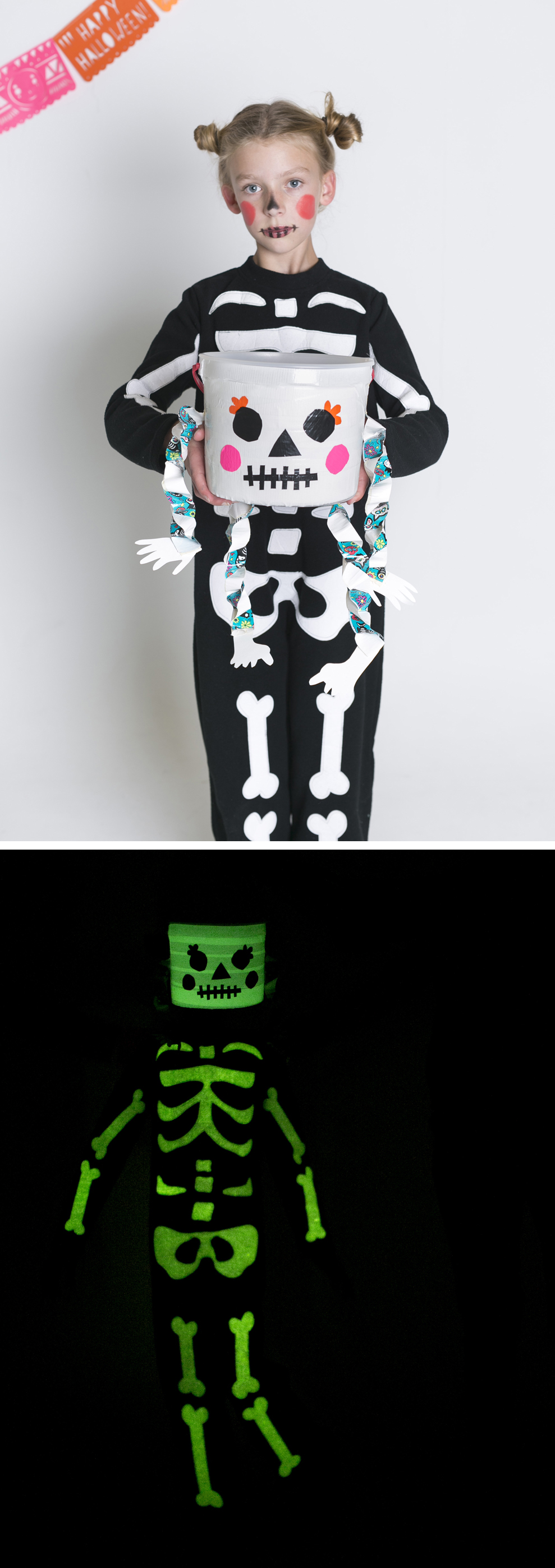 Glow-in-the-Dark Duct Tape Skeleton Treat Bucket | mer mag