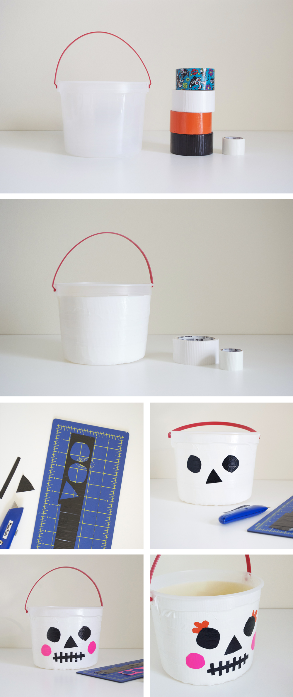 DIY Glow in the dark Skeleton Trick-or-Treat Bucket