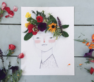 Decorating our Midsummer Maiden with a Floral Crown