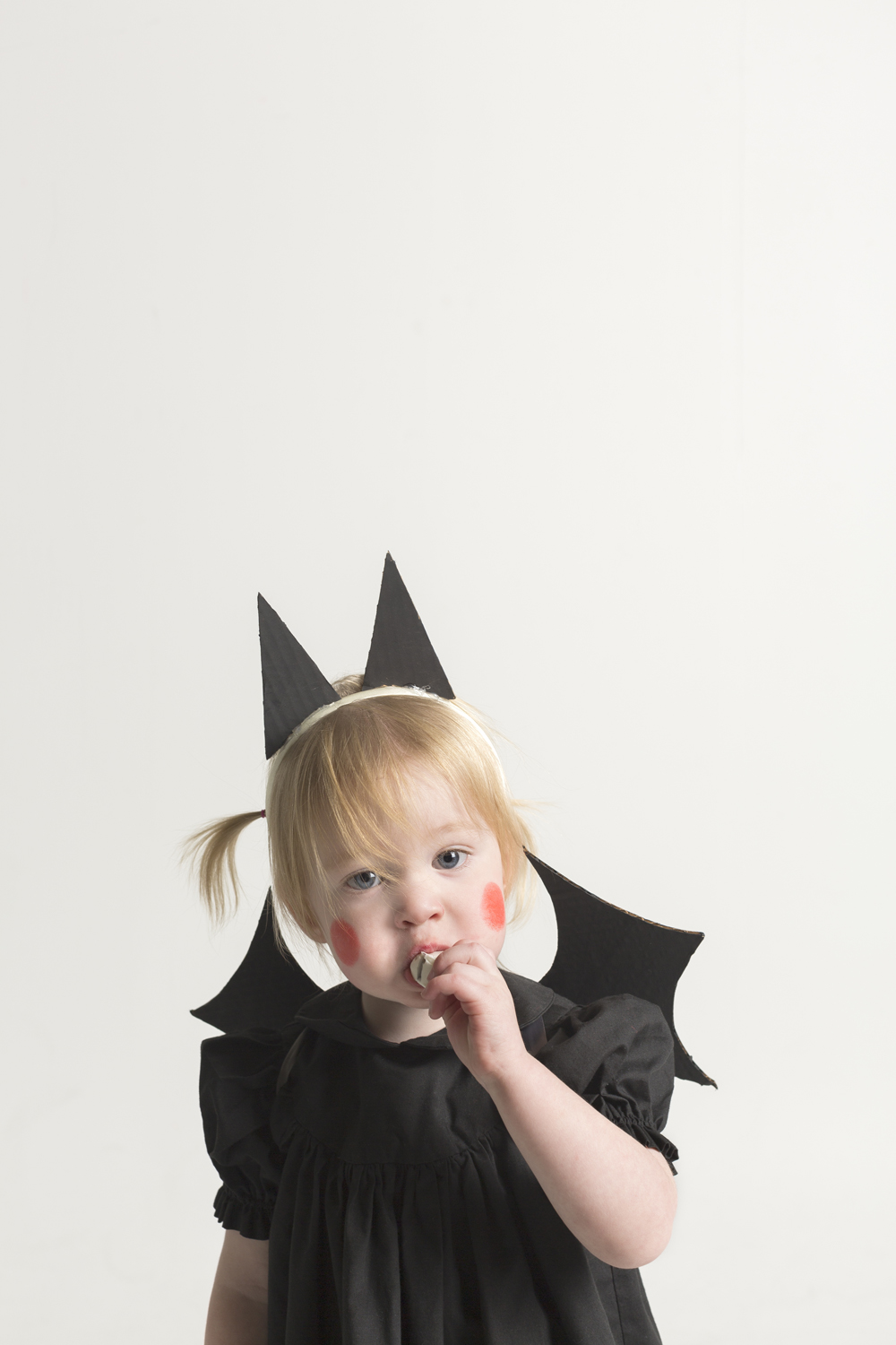 Baby Bat Costume with Cardboard Wings and Ears